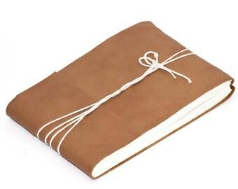 "Caramel Leather Journal or Leather Sketchbook, Medium Sized Notebook, Handbound Coptic Stitch - 3 3/4"" x 5 1/2"""
