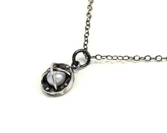 BOND TOGETHER steampunk oxidised silver pearl necklace pendant
