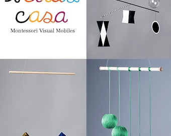 3 Montessori Baby Mobiles -Exclusive Offering/ Nursery Mobile/ The Munari  Mobile, Octahedron, Gobbi  Mobile (all assembled)/ artcards pdf