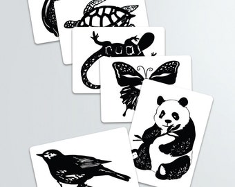 Black and White Contrast Animal Art Cards-Baby shower gift