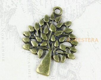 10Pcs Antique Brass Tree Charm Tree Pendant 29x24mm (PND180)