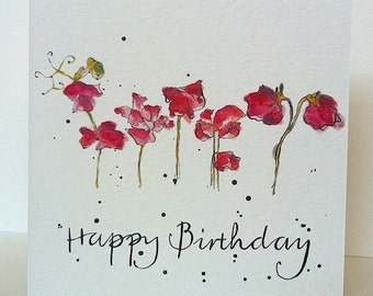 Birthday Sweet Peas Card from Original Illustration