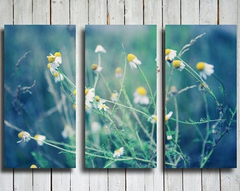 Soft Dreams - Flowers collage - Blue and Green collage - Flowers canvas - Blue and Green canvas - Blue and green decor - Flowers decor