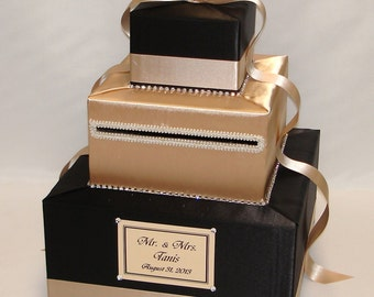 Elegant Custom Made Wedding Card Box-rhinestone trim