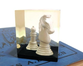 Vintage Lucite Cube Paperweight Chess Pieces Knight and Pawn 70's (item 7)