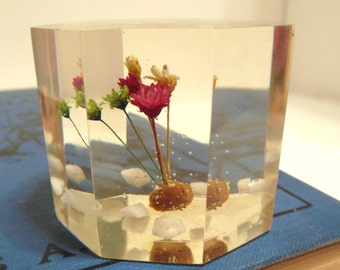 Vintage Lucite Cube Paperweight Dried Flowers  70's (item 7)