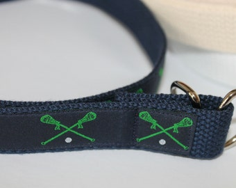 Lacrosse Belt Boys LAX Belt Navy and Green Belt Kids Lacrosse Belt Lacrosse Sticks Belt Boys lax Velcro Belt Navy Lax Belt