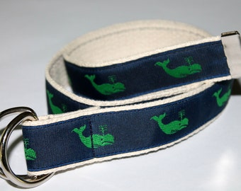 Kids Whale Belt Children's Whale Belt Boys Whale Belt Girls Whale Belt Kids Velcro WHale Belt Navy Whale Belt  Preppy Kids Belt Whale D Ring