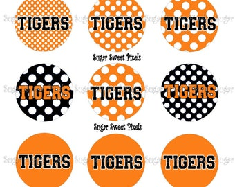 INSTANT DOWNLOAD Tigers Orange polka Dot 1 inch circle digital Bottlecap Images