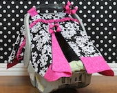 Car Seat Canopy - Hot Pink and Damask