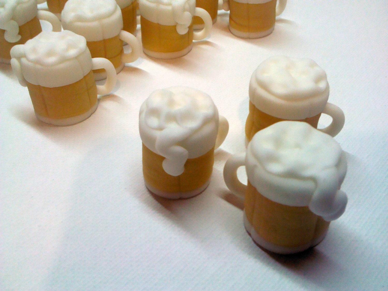 Beer Mugs Edible Fondant Cupcake Toppers By Threemonkeyscakery