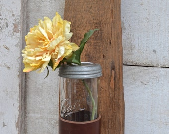 Wall Mount Leather Strap Vase, Pencil Catcher or Paint Brush Holder
