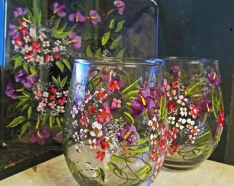 ROMANTIC GARDEN 2 Stemless Wine Glasses & Plate