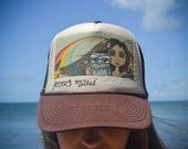 Hawaiian Rainbow Island Girl JoNerZ art Trucker Hat Maui