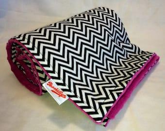 Black and White Mini Chevron Raspberry Stroller Blanket