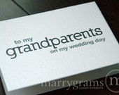 Wedding Card to Your Grandparents -To My Grandparents on My Wedding Day - Bride, Groom Cards, Grandmother, Grandfather - Family Thank You's