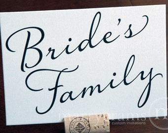 Bride & Grooms Family Wedding Table Card Sign - Reserved Wedding Ceremony or Reception Seating Signage - Table Numbers Avail (Set of 2) SS03