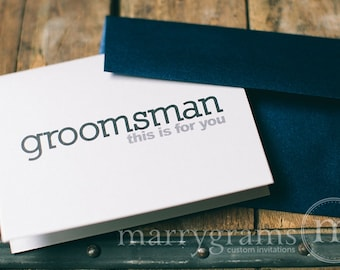To My Ring Bearer, Usher, Junior Groomsman Wedding party... Wedding Thank You Cards to go with a Gift - Manly, Simple, Navy, Black, Grey