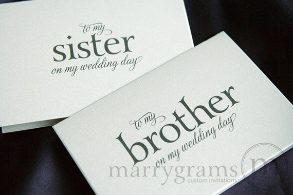Wedding Gift For Sister Of The Bride : ... Bride or Groom Cards - To My Sister on My Wedding Day Card for Gift