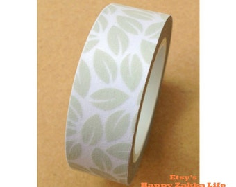 Japanese Washi Masking Tape - Grey Leaf - 11 yards
