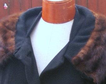 Mink  collar black  coat size Large