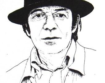 Illustrated Deleuze Screen Print Portrait T Shirt