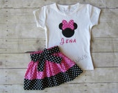 Minnie Mouse Shirt and Skirt Set - Minnie Mouse Outfit - Minnie Mouse Birthday outfit