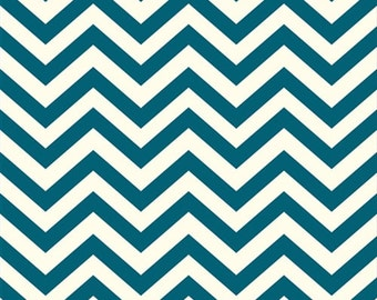 Organic Teal Chevron Fabric - Birch Mod Basics 1/2 Yard
