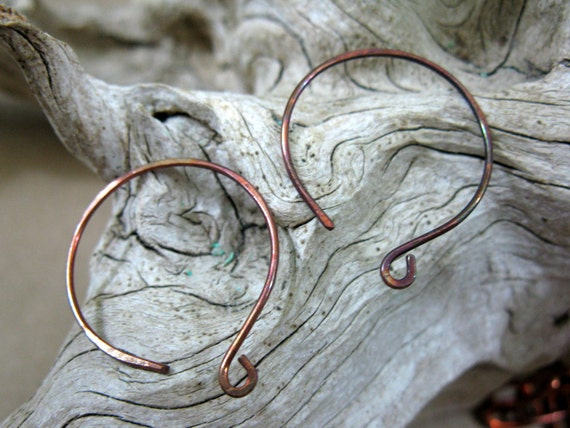 Copper Full Moon Earwires, 6 Pairs Handcrafted Earwires, Artisan Earwires