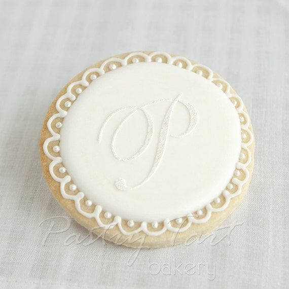 Items Similar To Wedding Cookie Favors Monogram Letter