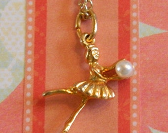 Dolls' Ballerina Necklace, Charm Necklace, 18 Inch Doll Jewelry, Doll Accessories, Ballerina Doll and Chain, Little Girls Gift, Birthday