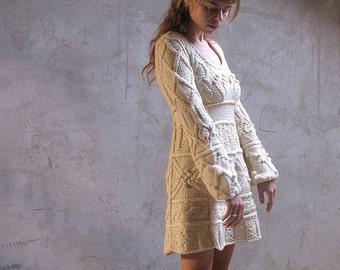 Off-white hand knit dress tunic sweater - wedding dress - custom order