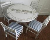 Hand painted table and chairs with vintage French typography in gold leaf. & scrolls.