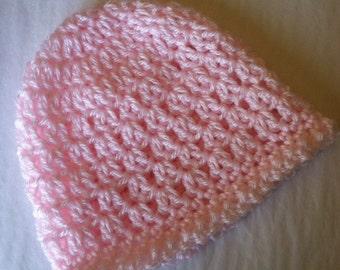 Crochet Baby Hat, Soft Pink Baby Hat, Newborn Hat, Crochet Baby Hat, Newborn Baby Hat, Pink Infant Hat