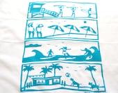 Flour Sack Dish Towel - Beach: Indigo or Turquoise