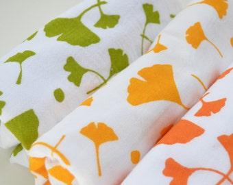 Flour Sack Dish Towel - Ginko: Green, Yellow or Orange
