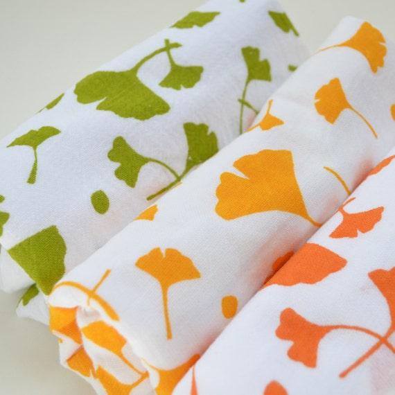 Flour Sack Dish Towel Ginko: Green Orange or by keiandmolly
