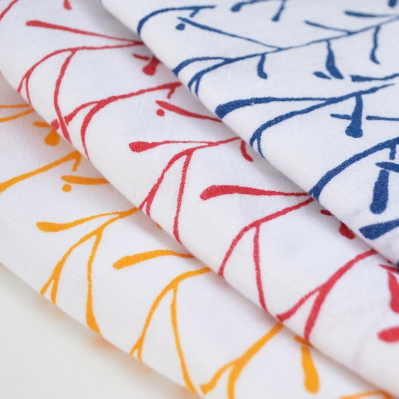 Flour Sack Dish Towel - Stems: Yellow, Red, or Indigo