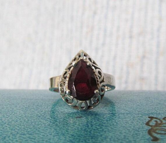 Vintage Sterling Silver Rhodolite Garnet Ring Size 6