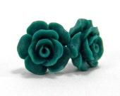 Emerald Green Earrings  14mm Matte Rose Camellia Titanium Stud Earring Pair  Hypoallergenic Minimalist Jewelry  St. Patrick's Day