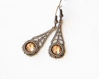 Brass Earrings, Dainty Jewelry, Filigree Jewelry, Wedding Jewelry, Vintage Wedding, Bridesmaid Jewelry, Jewelry Under 50, Elegant Jewelry