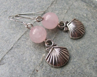 Rose Quartz Scallop Shell Aphrodite Earrings - Valentines Day - Pink - Silver