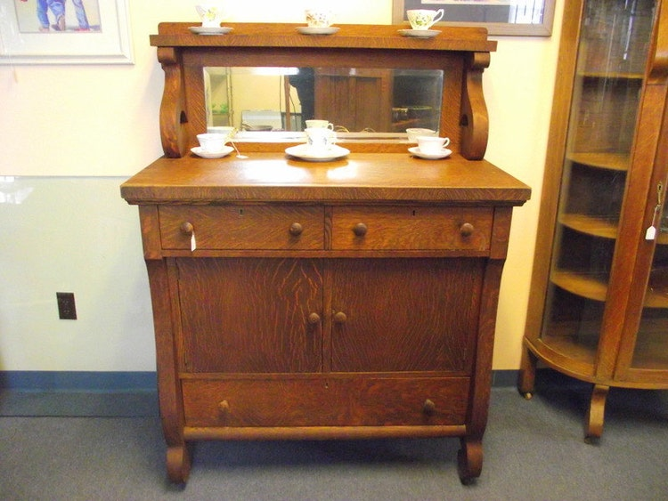 Antique Empire Tiger Oak Buffet Sideboard Server By