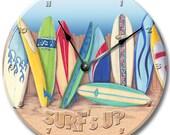 Wall clock SURFBOARD Nursery art, Baby, Toddler, Girl, custom room decor