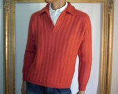 Reserved for Frank Vintage 1970's Red Shetland Wool Pullover Sweater - Size XL