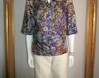 Vintage 1970's Alex Coleman Floral Print 3/4 Sleeve Blouse - Size 10
