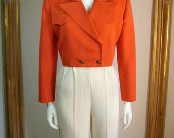 GUCCI - Vintage 1980's Gucci Red Cotton/Silk Blend Cropped Jacket - Size 10
