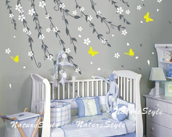 Branch flowers with Butterflies -Vinyl Wall Decal white flower wall decal tree kids nursery wall decal baby wall decor children wall sticker