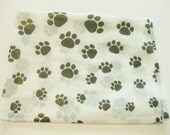 """10 Sheets of Black Large Paw Print on White Tissue Paper (20"""" x 30"""")"""
