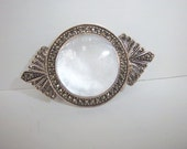 Vintage Mother of Pearl and Marcasite Sterling Pin